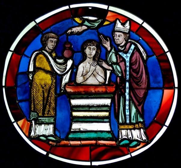 Paris, Sainte Chapelle, Vitrail, Scene de bapteme (Paris, dernier quart du 12e).jpg