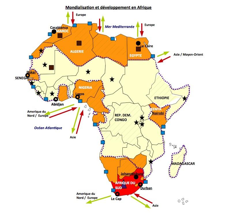 Carte Afrique Terminale Es.Croquis Mondialisation Et Developpement En Afrique